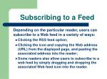 subscribing to a feed