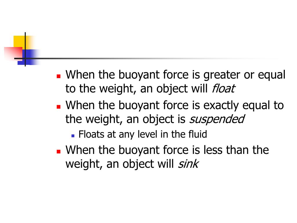 When the buoyant force is greater or equal to the weight, an object will