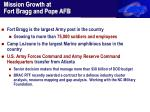 mission growth at fort bragg and pope afb