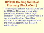hp 9304 routing switch at pharmacy block cont