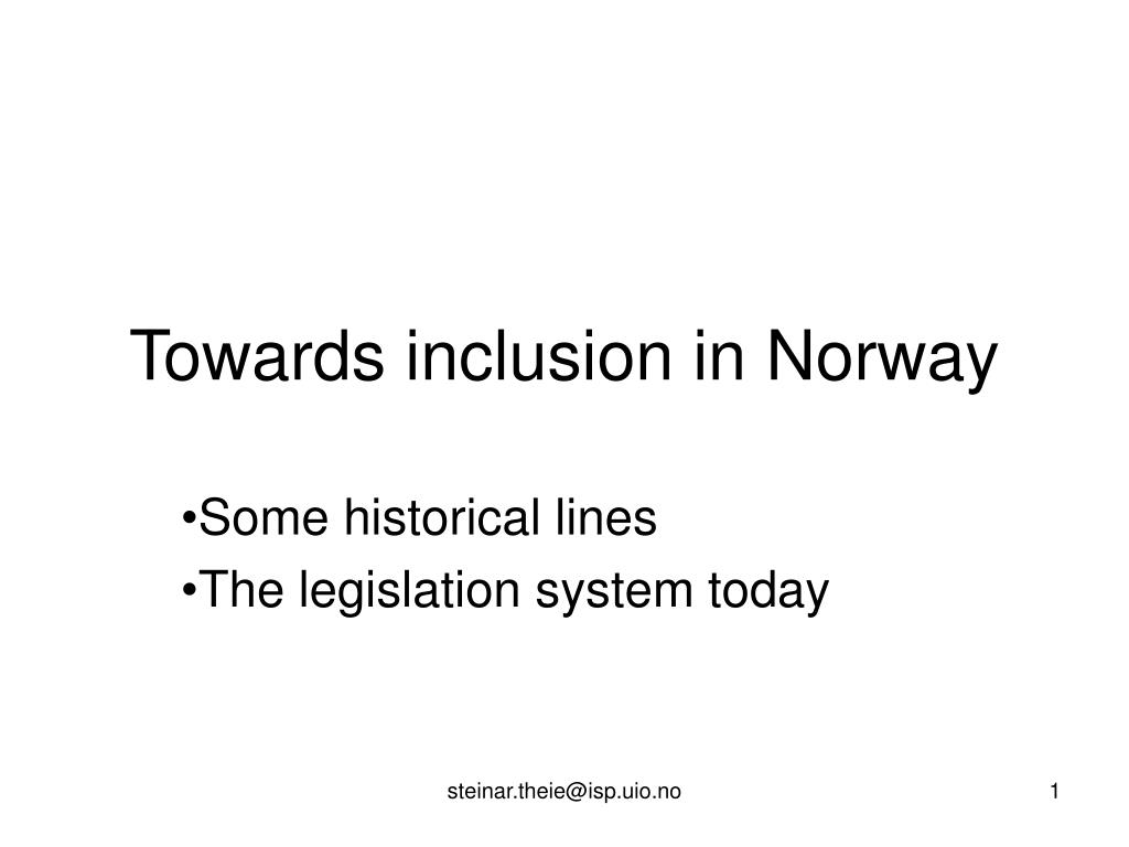 towards inclusion in norway l.