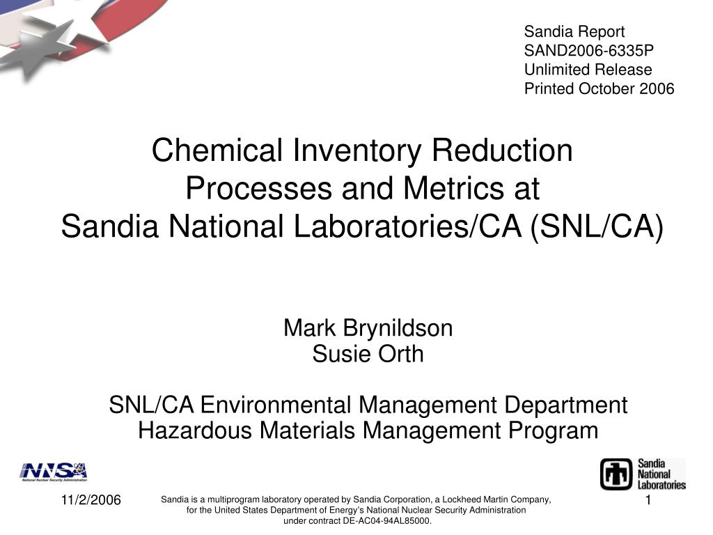 chemical inventory reduction processes and metrics at sandia national laboratories ca snl ca l.