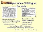 sample index catalogue records