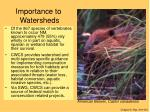 importance to watersheds