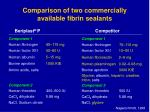comparison of two commercially available fibrin sealants