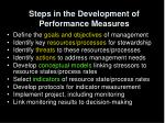 steps in the development of performance measures