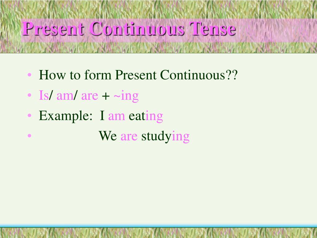 present continuous tense l.