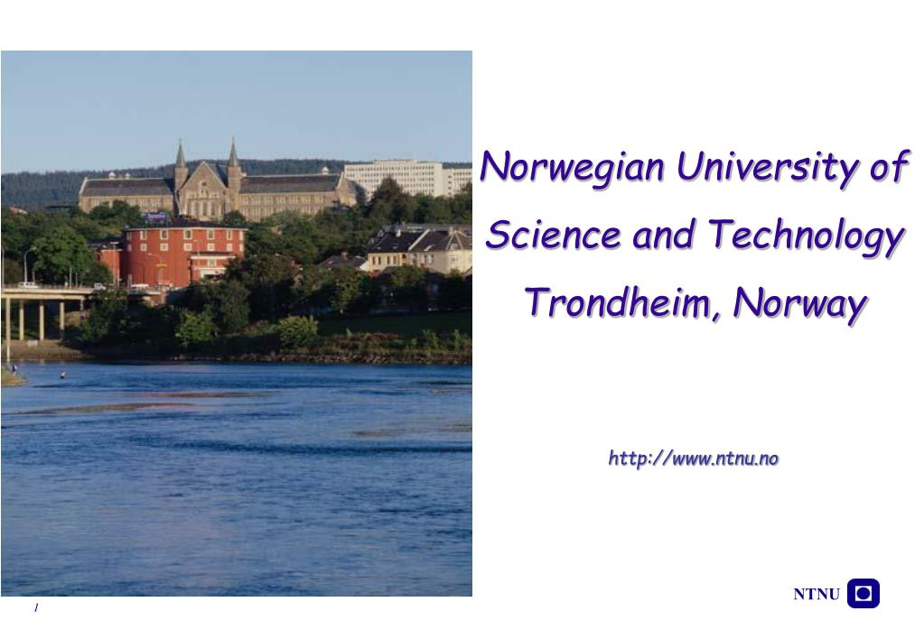 norwegian university of science and technology trondheim norway http www ntnu no l.