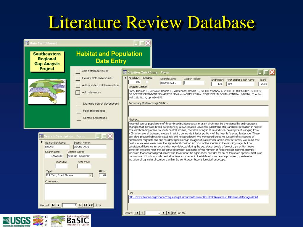 Literature Review Database