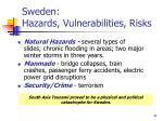 sweden hazards vulnerabilities risks