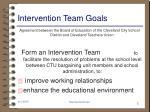 intervention team goals