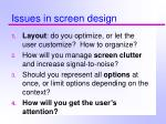 issues in screen design28