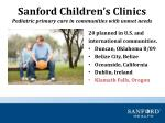 sanford children s clinics pediatric primary care in communities with unmet needs