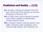 predictions and reality 1 3