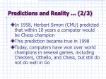 predictions and reality 2 3