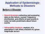 application of epidemiologic methods to disasters