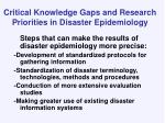 critical knowledge gaps and research priorities in disaster epidemiology