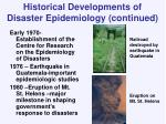 historical developments of disaster epidemiology continued