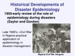historical developments of disaster epidemiology