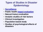 types of studies in disaster epidemiology