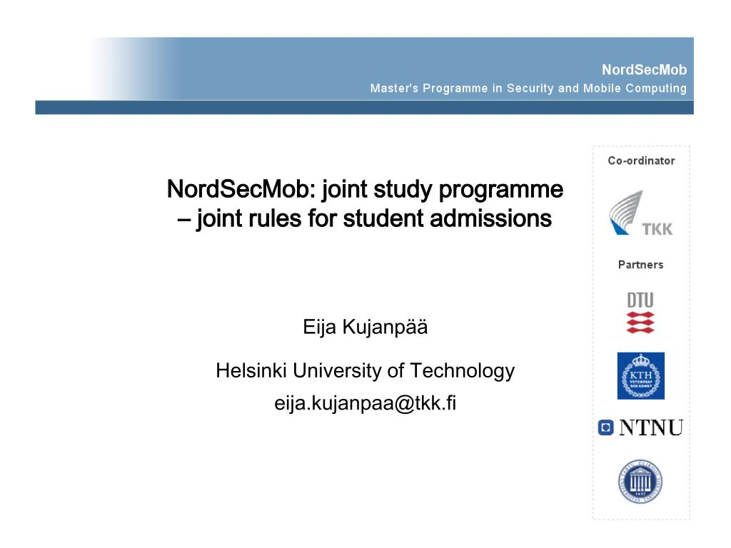 nordsecmob joint study programme joint rules for student admissions