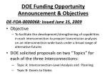 doe funding opportunity announcement objectives
