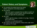 patient history and symptoms