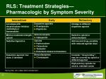 rls treatment strategies pharmacologic by symptom severity