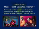 what is the master health education program