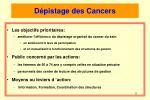 d pistage des cancers