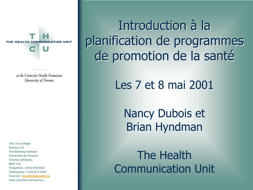 introduction la planification de programmes de promotion de la sant l.