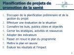 planification de projets de promotion de la sant