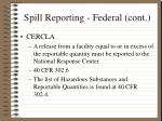 spill reporting federal cont