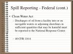 spill reporting federal cont9