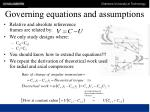 governing equations and assumptions