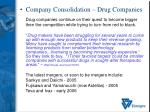 company consolidation drug companies