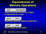 equivalences of memory operations
