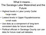 what it means the saratoga lake watershed and the future