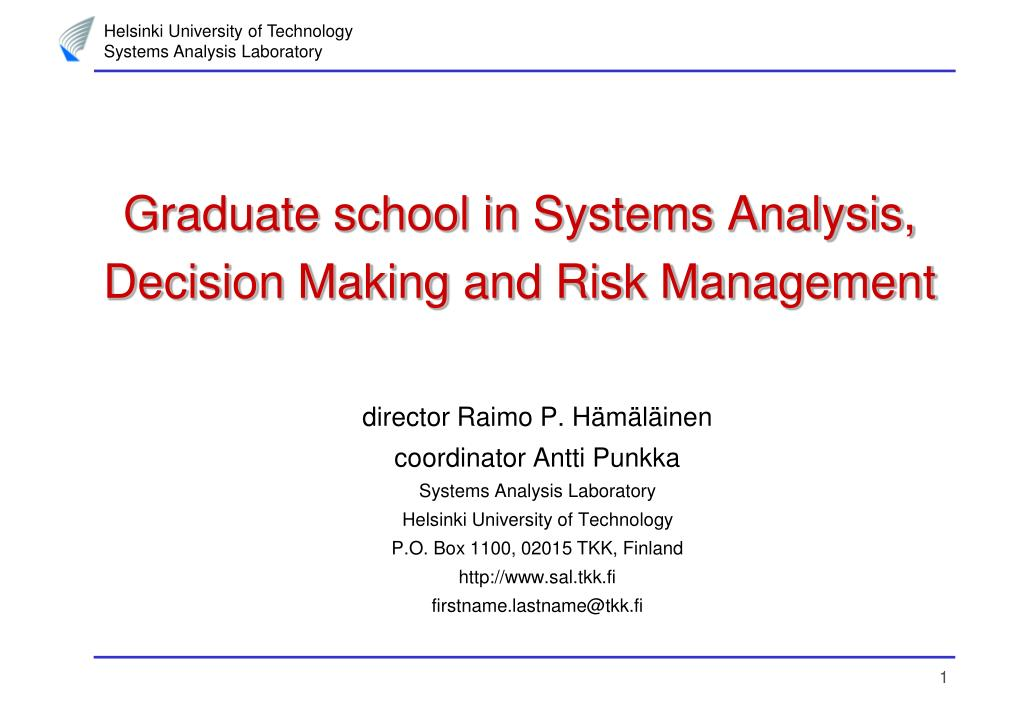 graduate school in systems analysis decision making and risk management l.