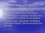 shortcomings in lgu audits