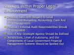 working within proper legal environment
