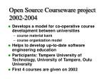 open source courseware project 2002 2004