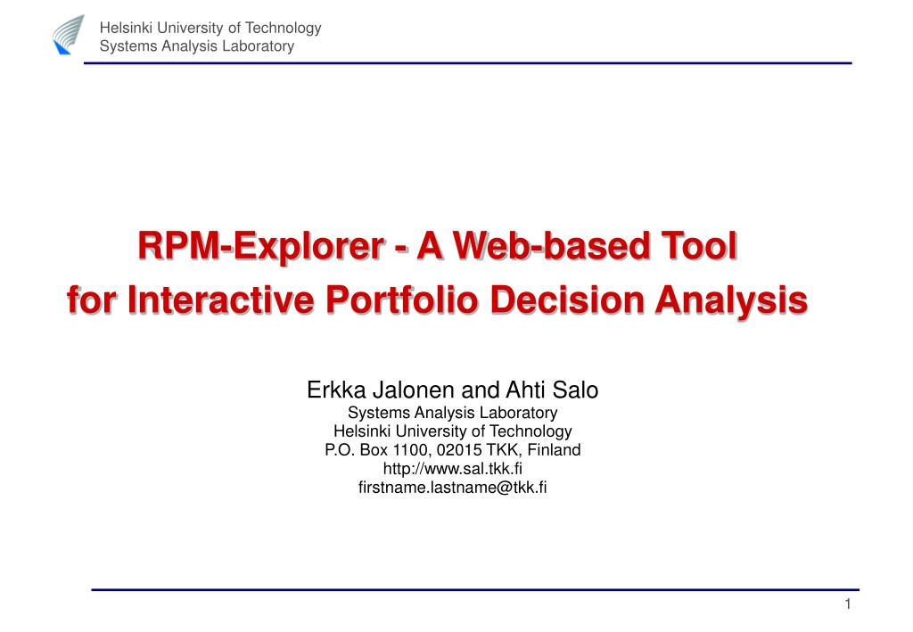 rpm explorer a web based tool for interactive portfolio decision analysis l.