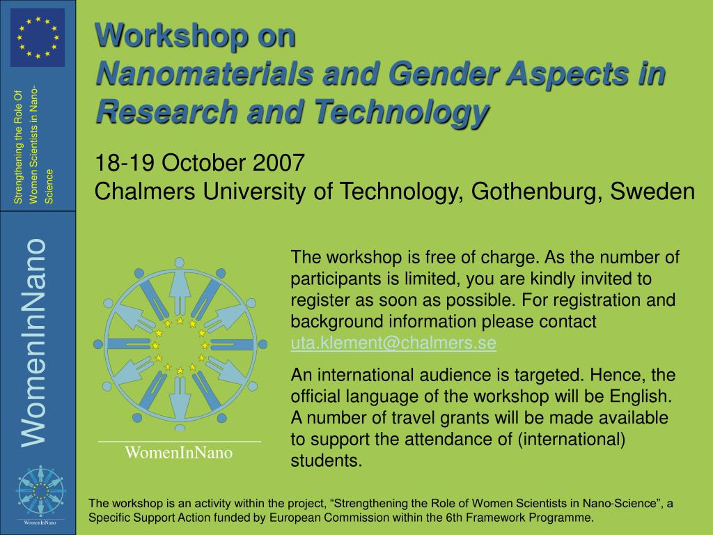 workshop on nanomaterials and gender aspects in research and technology l.