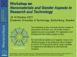 workshop on nanomaterials and gender aspects in research and technology