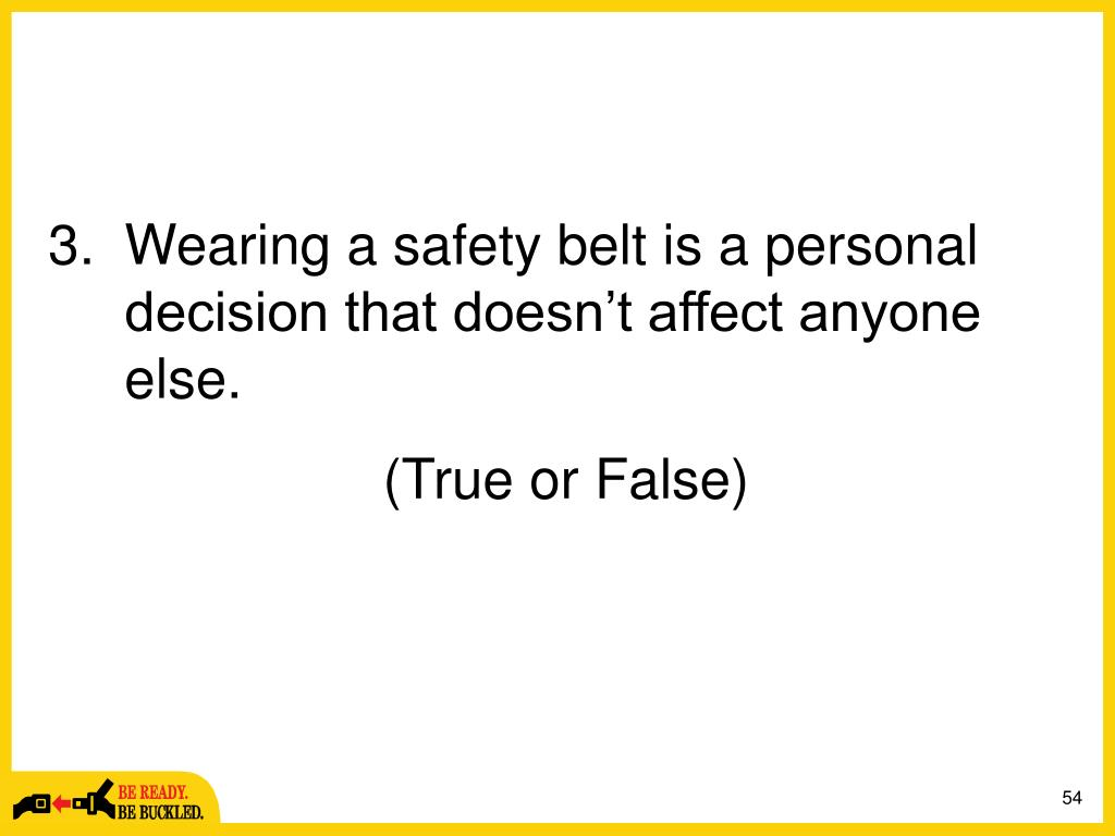 Wearing a safety belt is a personal decision that doesn't affect anyone else.