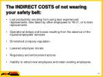 the indirect costs of not wearing your safety belt