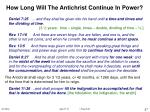 how long will the antichrist continue in power