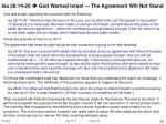 isa 28 14 20 god warned israel the agreement will not stand