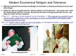 modern ecumenical religion and tolerance